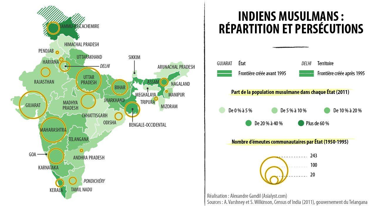 Carte de la répartition en Inde et des persécutions des Indiens musulmans.