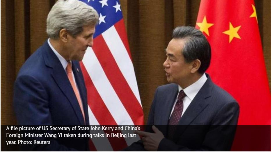 Le ministre chinois des Affaires étrangères Wang Yi a averti le secrétaire d'État américain John Kerry que la Chine ne reconnaîtrait pas l'arbitrage de la cour internationale de La Haye prévu le 12 juillet. Copie d'écran du South China Morning Post, le 7 juillet 2016