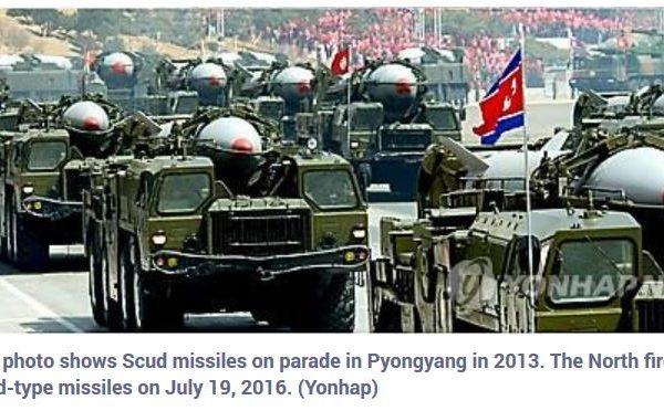 La Corée du Nord a procédé au lancement de trois missiles en mer du Japon ce mardi 19 juillet, en réponse à l'installation prochaine du bouclier antimissile THAAD en Corée du Sud. Copie d'écran de Yonhap News, le 19 juillet 2016.