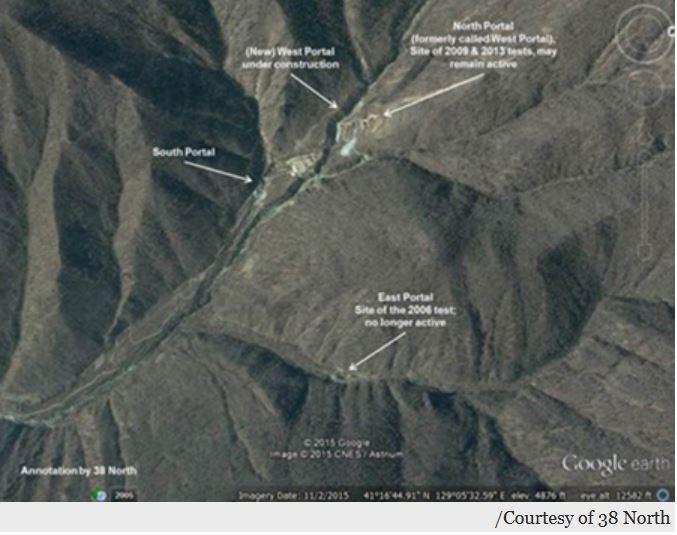"""L'analyse des images satellites du site d'essai nucléaire nord-coréen semble indiquer """"un ravitaillement ou de l'équipement"""" selon des experts américains. Copie d'écran du Korea Times, le 12 juillet 2016."""