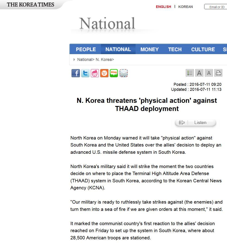 """Après un nouvel essai de missile, Pyongyang prévient que son armée est prête à frapper le Sud """"impitoyablement"""" si le THAAD est bien mis en place. Copie d'écran de The Korea Times, le 11 juillet 2016."""
