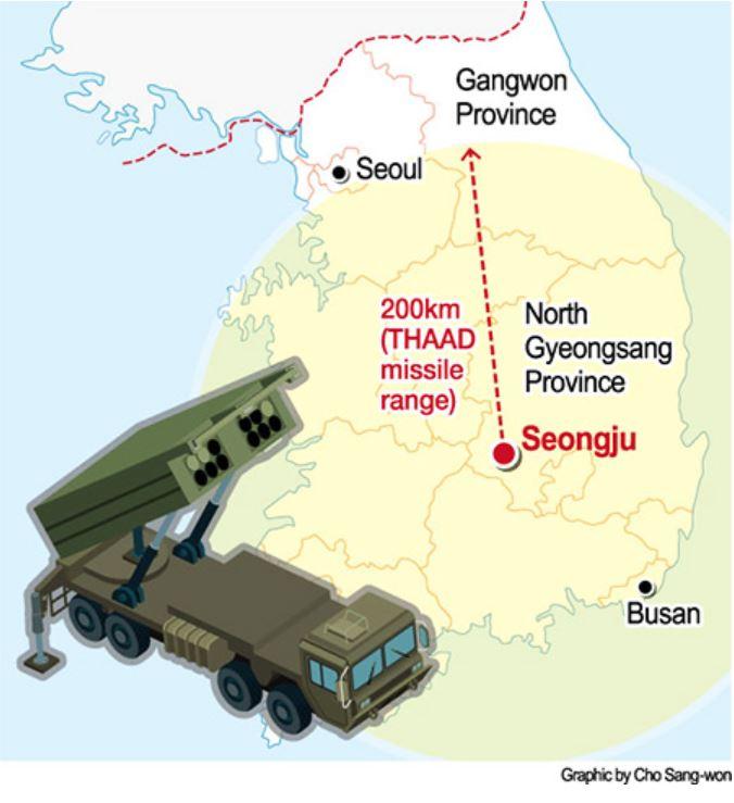 Selon une source anonyme du gouvernement, le système THAAD serait prochainement déployé à Seongju, dans le Gyeongsang du Nord. Copie d'écran du Korea Times, le 13 juillet 2016.