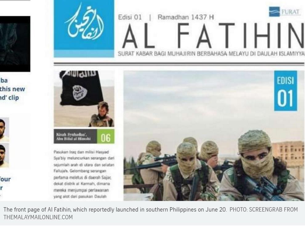 Une du Al Fatihin, revue destinée aux sympathisants de Daech en Asie du Sud-Est. Copie d'écran du Straits Times, le 13 juillet 2016.