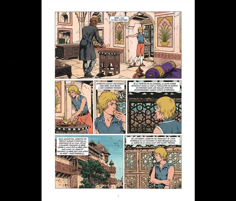 Couverture de Les trois perles de Sa-Skya, scénario Jean Van Hamme, dessin Christophe Simon. (Crédit DR).