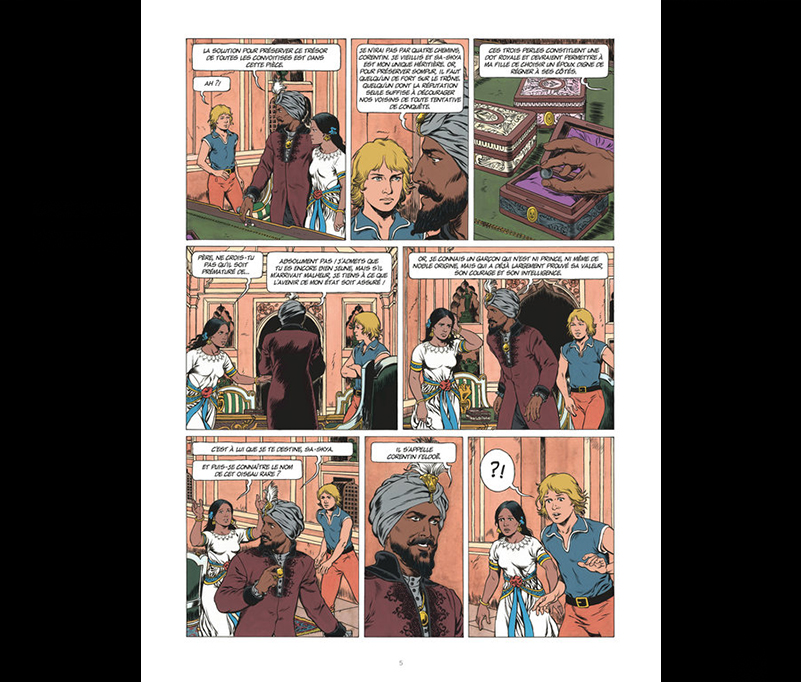 Extraits de Les trois perles de Sa-Skya, scénario Jean Van Hamme, dessin Christophe Simon. (Crédit DR).
