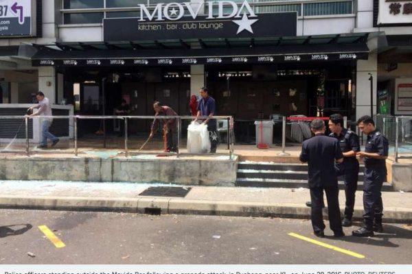 La police malaisienne a confirmé la première attaque terroriste de Daech, qui a fait 8 blessés le 28 juin 2016 dans une boîte de nuit de Puchong, près de Kuala Lumpur. Copie d'écran du Straits Times, le 4 juillet 2016.