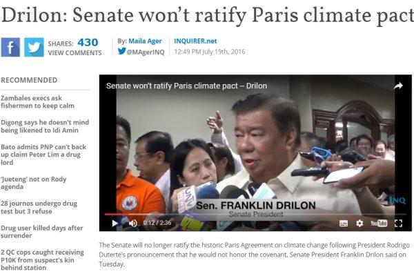 Le Sénat philippin ne ratifiera pas l'accord de Paris en raison des fortes réticences du président Duterte. Copie d'écran de Inquirer, le 19 juillet 2016.