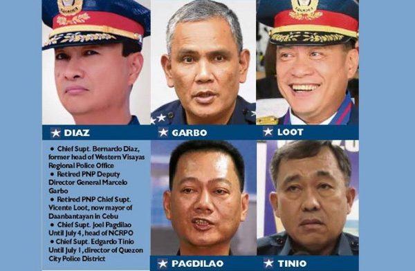 Le président Duterte accuse cinq généraux de police de trafic de drogue. Copie d'écran de Inquirer.net, le 6 juillet 2016.