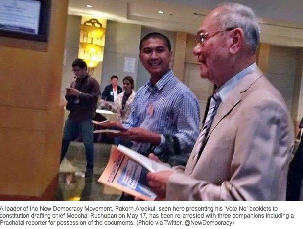 Quatre opposants au projet de la Constitution ont été arrêtés dimanche 10 juillet, à Ban Pong. Copie d'écran de The Bangkok Post, le 11 juillet 2016.