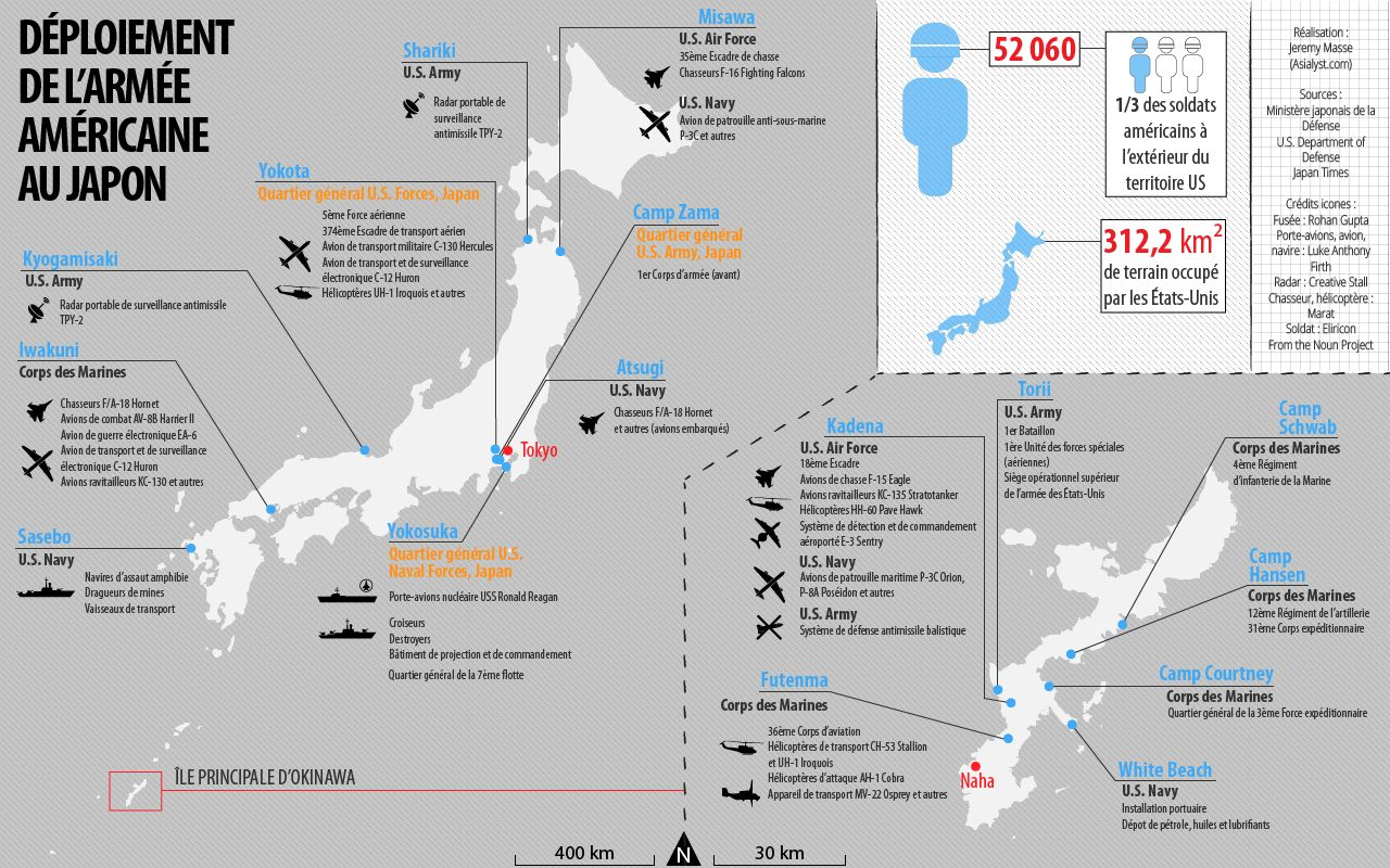 Carte du déploiement des forces américaines au Japon, d'après le Livre blanc de la défense du Japon de 2015.