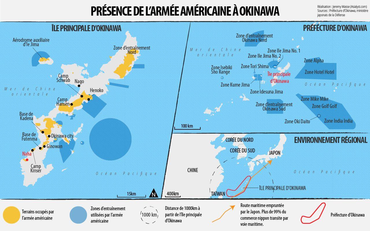 Zoom sur la présence de l'armée américaine à Okinawa.