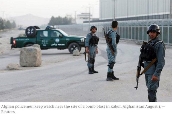 Cette nuit, une attaque terroriste contre un hôtel pour étrangers de Kaboul a fait un mort et trois blessés parmi les policiers. Aucune victime n'est à déplorer parmi les clients de l'hôtel. Cette attaque intervient moins de dix jours après l'attentat le plus meurtrier qu'a connu l'Afghanistan depuis quinze ans. Copie d'écran de Dawn, le 1er août 2016.