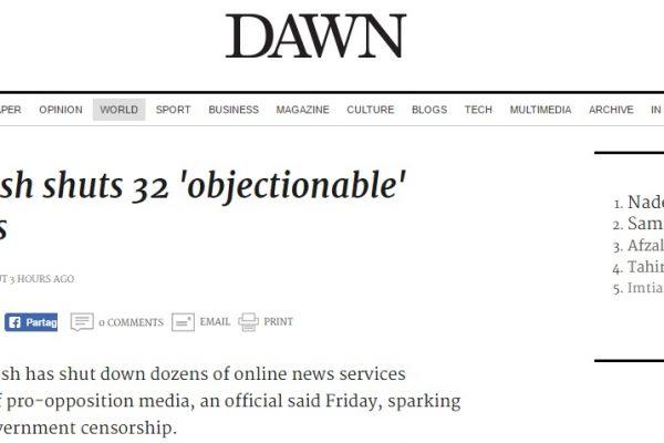 """Le Bengladesh ferme 32 sites et portails Internet aux """"contenus répréhensibles"""" sur la demande des services secrets. Copie d'écran de Dawn, le 5 août 2016."""