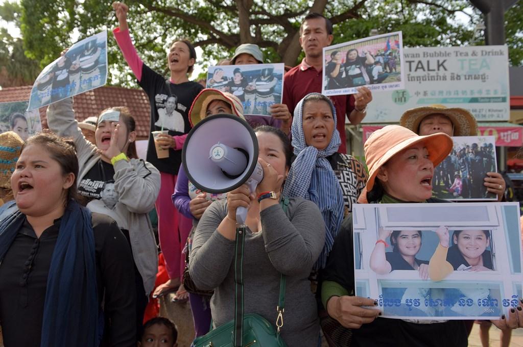 Photo des militants cambodgiens manifestent, le 22 août 2016.