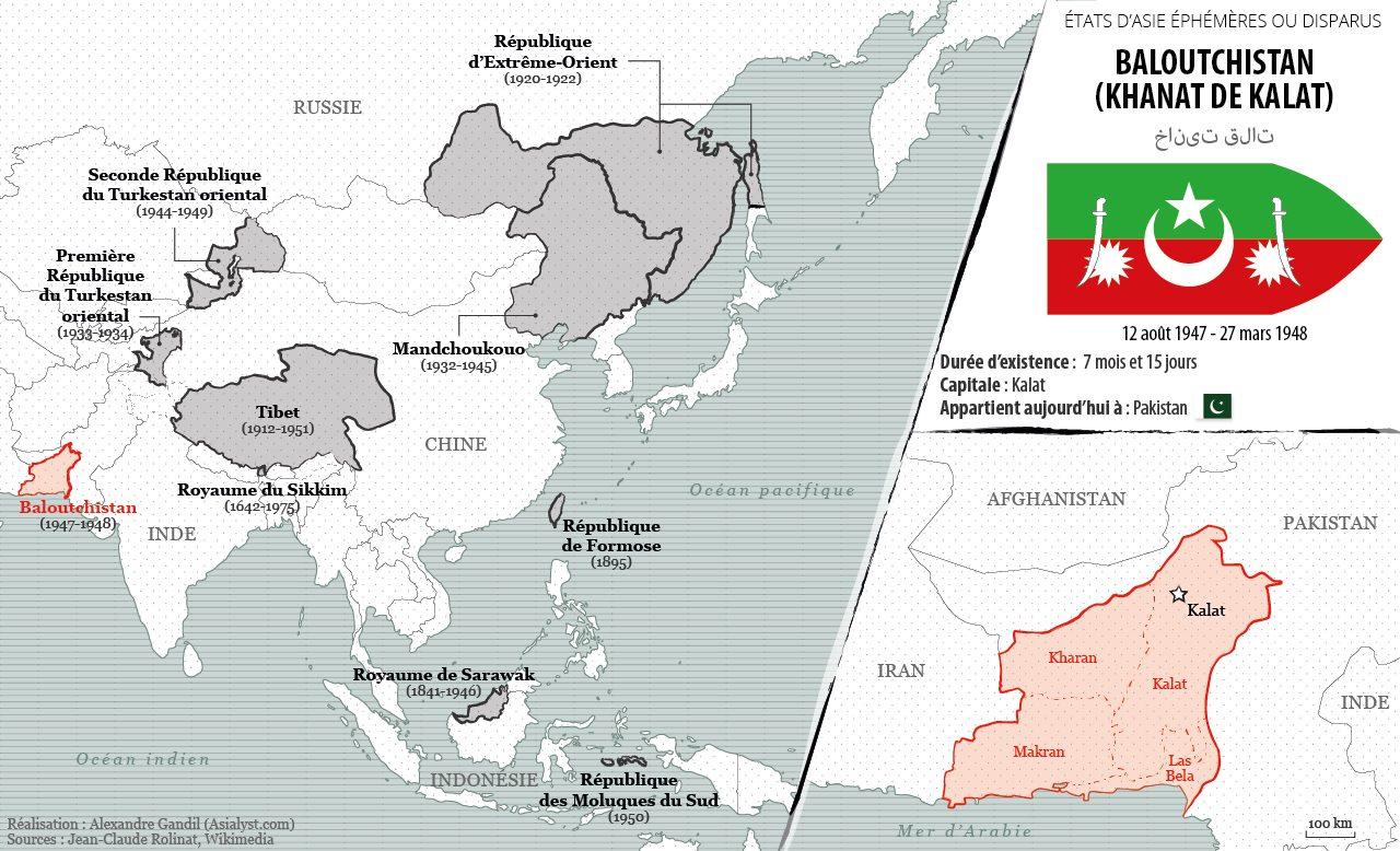 Panorama des États éphémères ou disparus d'Asie retenus par Asialyst et carte du Baloutchistan indépendant (1947-1948).