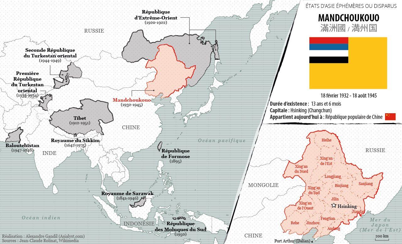 Panorama des États éphémères ou disparus d'Asie retenus par Asialyst et carte du Mandchoukouo (1932-1945).