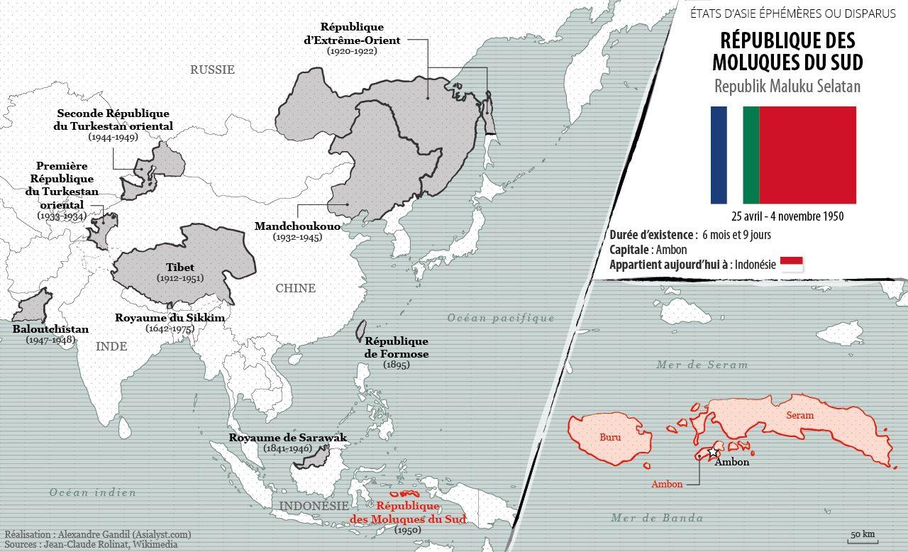 Panorama des États éphémères ou disparus d'Asie retenus par Asialyst et carte de la République des Moluques du Sud (1950).