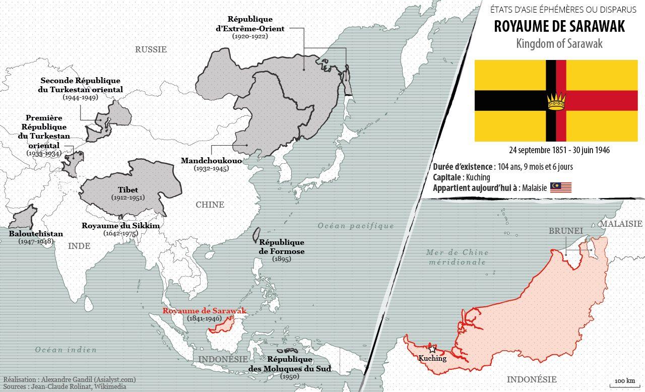 Panorama des États éphémères ou disparus d'Asie retenus par Asialyst et carte du Royaume de Sarawak (1841-1946).