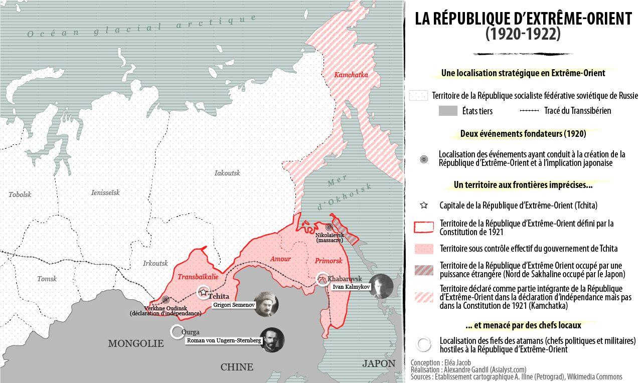 Carte détaillée de la République d'Extrême-Orient (REO).
