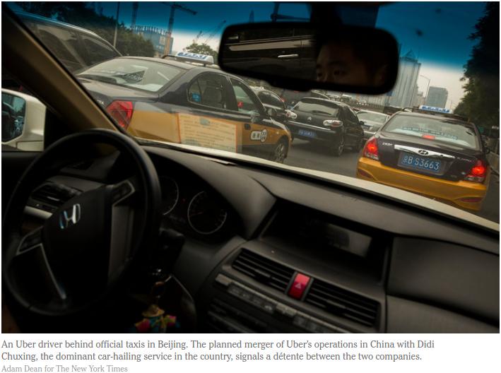 Après l'absorption de son rival Uber, la société Didi Chuxing devrait être réévaluée à 35 milliards de dollars. Copie d'écran du New York Times, le 1er août 2016.