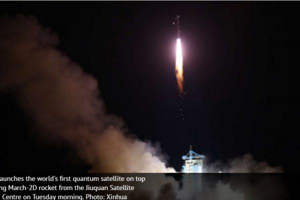 La Chine devient un pionnier dans le domaine de la communication quantique avec le lancement du premier satellite quantique de l'histoire. Copie d'écran du South China Morning Post, le 16 août 2016.