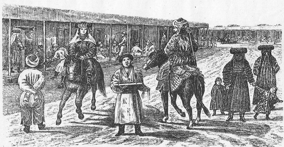 Scène de rue à Yarkand, dans les années 1870. Quelques décennies plus tard, la ville fera partie de la première République du Turkestan oriental (1933-1934).