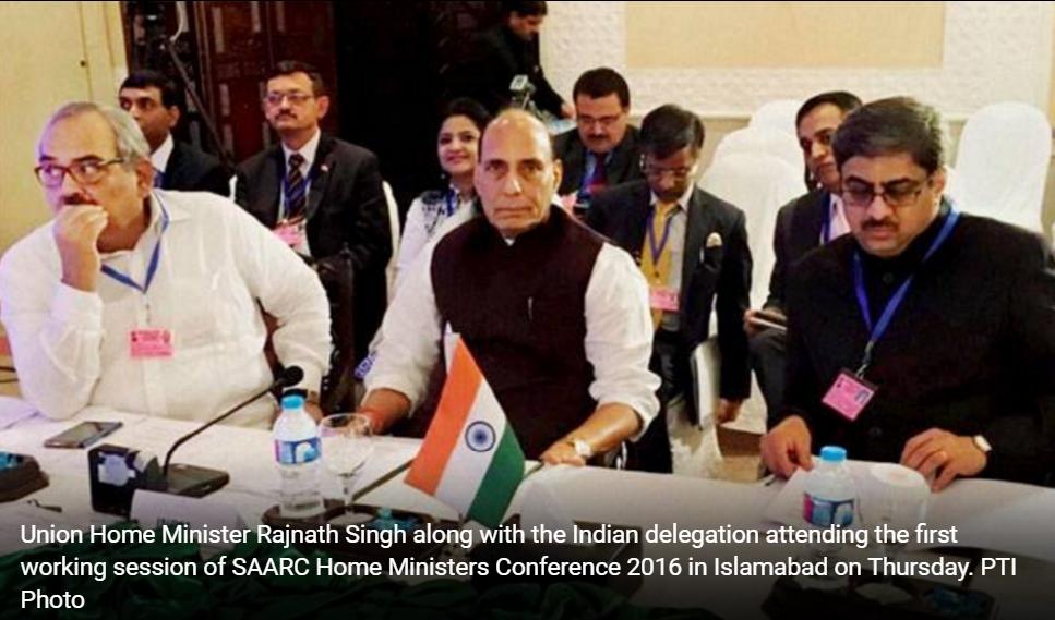 Le sommet du SAARC a été éclaboussé par le départ prématuré du ministre indien de l'Intérieur. Copie d'écran de India Today, le 5 août 2016.
