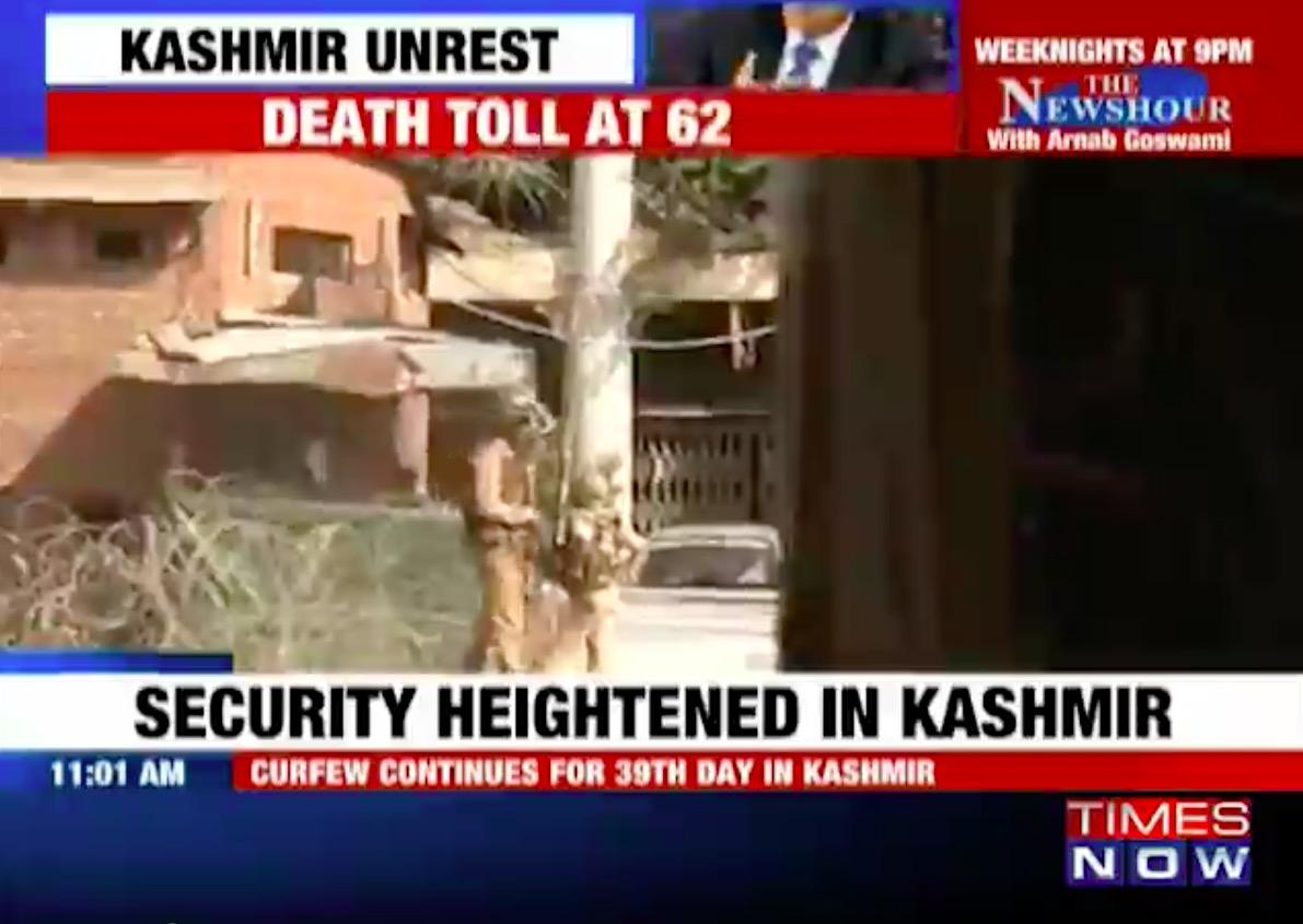 Le bilan s'alourdit au Cachemire avec 4 morts lors d'une manifestation à Magam. Copie d'écran du Times of India, le 16 août 2016.