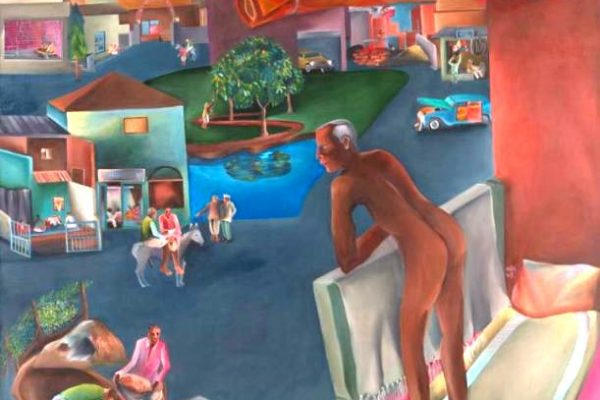 """You can't please all"" (1981), tableau du peintre indien Bhupen Khakhar."