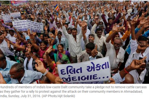 """Le BJP ne sait pas comment gérer les manifestations des Dalits après la mise en ligne d'une vidéo montrant un """"Intouchable"""" se faire flageller en public. Copie d'écran de The Indian Express, le 1er août 2016."""