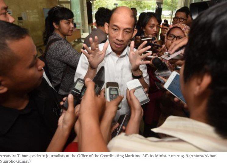 Le ministre indonésien de l'Énergie et des ressources minières a été limogé pour sa binationalité. Copie d'écran du Jakarta Post, le 17 août 2016.