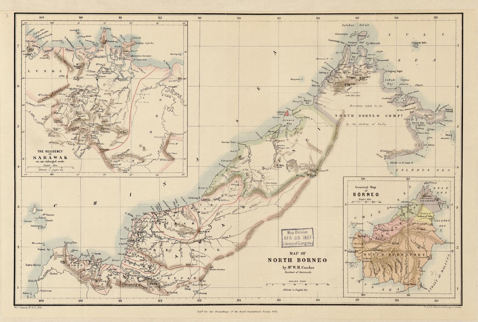 Carte du Nord de l'île de Bornéo en 1881. A l'époque, le Royaume de Sarawak (à l'Ouest) ne connaît pas encore son expansion maximale.