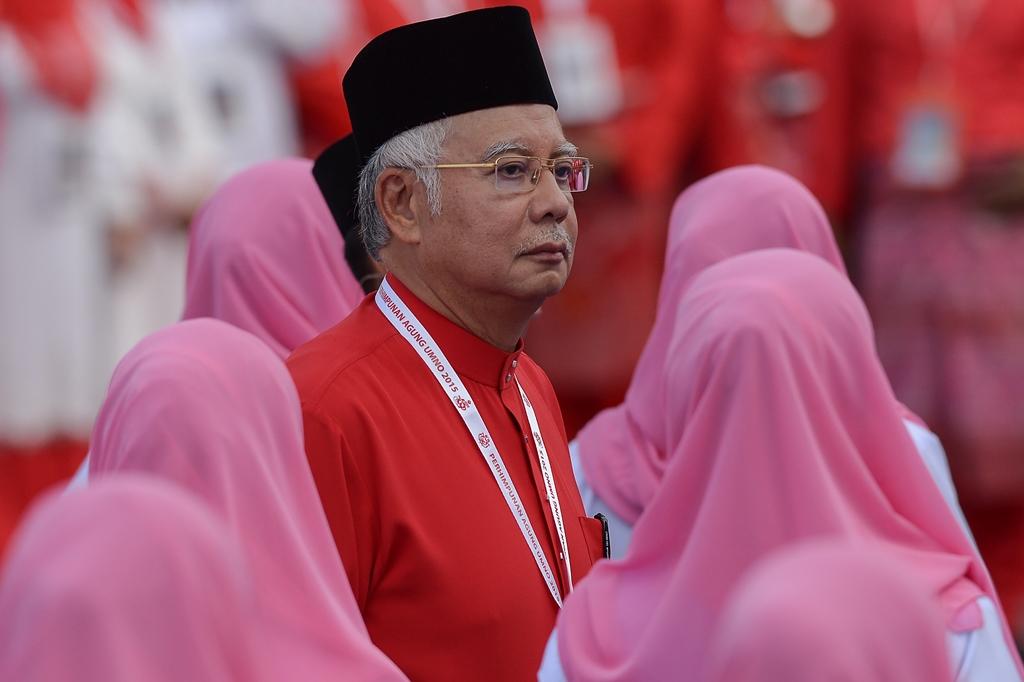 Najib Razak, Premier ministre malaisien et président de l'United Malays National Organisation (UMNO) au pouvoir, lors du congrès annuel de son parti à Kuala Lumpur le 10 décembre 2015.
