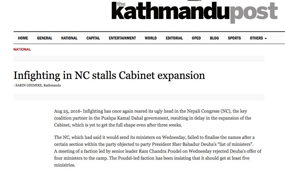 Copie d'écran du Kathmandu Post, le 25 août 2016.
