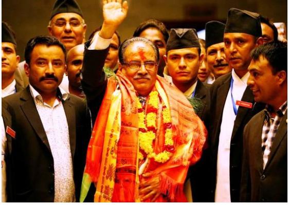 """Prachanda, """"Le redoutable"""", a comme prévu été élu Premier ministre par l'assemblée népalaise alors qu'il était le seul candidat à ce poste. Copie d'écran de The Hindu, le 4 août 2016."""
