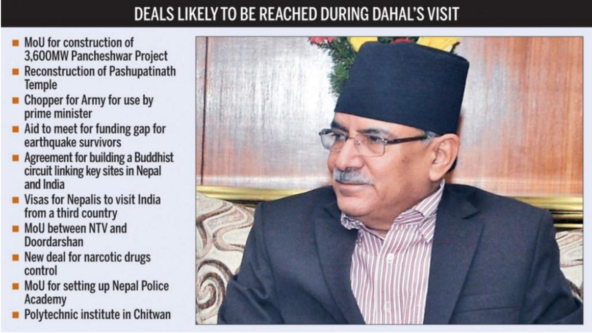 Le nouveau gouvernement de Pushpa Kamal Dahal a dépêché le vice-Premier ministre Bimalendra Nidhi pour une visite officielle en Inde. Cette visite marquera-t-elle un début de rapprochement durable entre les deux pays voisins? Copie d'écran du Kathmandu Post, le 19 août 2016.