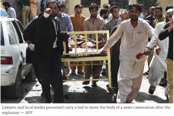 L'attentat-suicide qui a eu lieu dans un hôpital de la capitale du Baloutchistan a fait au moins 53 morts, pour la plupart des avocats. Copie d'écran de Dawn, le 8 août 2016.