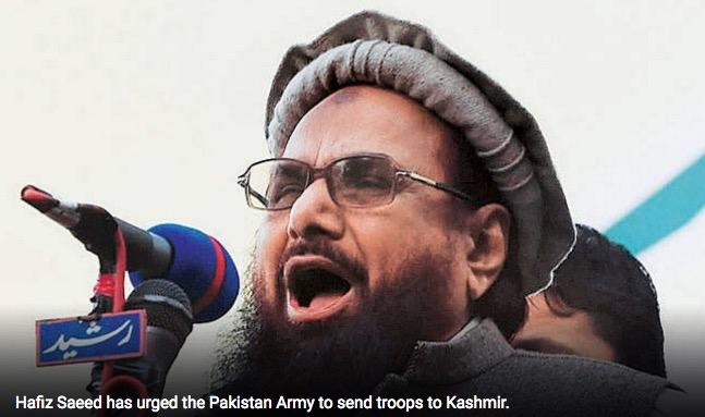 Hafiz Saeed appelle l'armée pakistanaise à envoyer ses troupes au Cachemire indien. Copie d'écran d'India Today, le 17 août 2016.