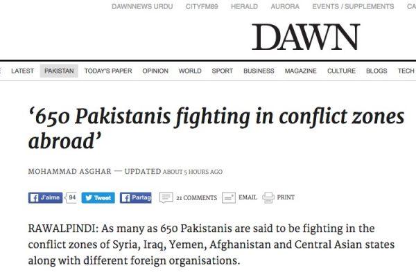 Le gouvernement pakistanais redoute le retour de plus de 650 combattants nationaux présents en dehors du pays. Copie d'écran de Dawn, le 3 août 2016.