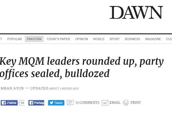Copie d'écran de Dawn, le 26 août 2016.