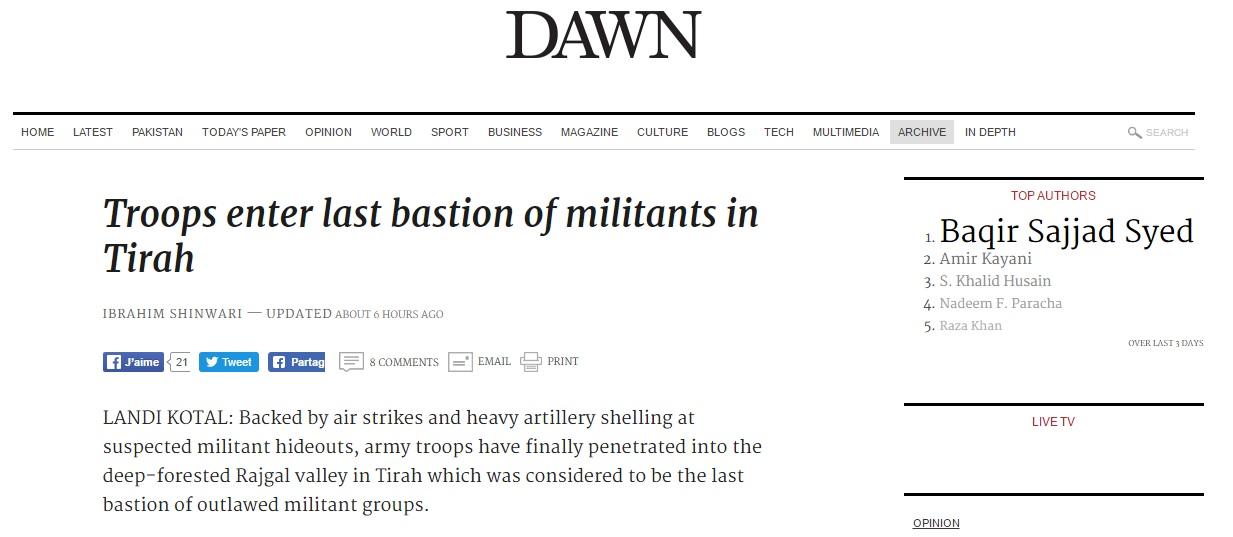 Les forces pakistanaises ont rejoint la vallée de Rajgal, sécurisant de nombreuses zones de la région et touchant plusieurs repaires terroristes. Copie d'écran de Dawn, le 17 août 2016.