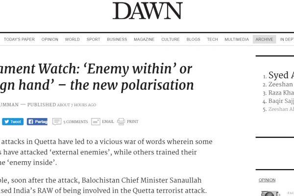 Où faut-il trouver les racines des attaques de Quetta : au Pakistan ou à l'étranger ? Copie d'écran de Dawn, le 12 août 2016.
