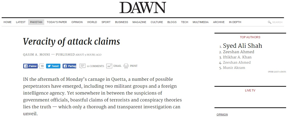 Malgré plusieurs revendications, le gouvernement pakistanais ne sait toujours pas qui se cache derrière l'attentat de Quetta. Copie d'écran de Dawn, le 10 août 2016.