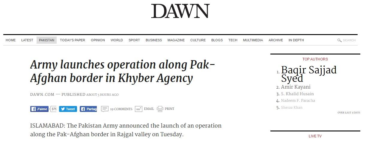 L'armée pakistanaise déploie ses troupes le long de la frontière afghane et annonce le lancement d'une opération. Copie d'écran de Dawn, le 16 août 2016.