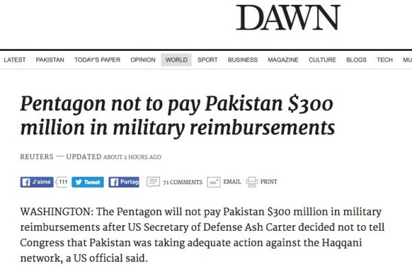 Les Etats-Unis ont bloqué 300 millions de dollars de remboursements pour le Pakistan, considérant qu'il ne luttait pas suffisamment contre le terrorisme. Copie d'écran de Dawn, le 4 août 2016.