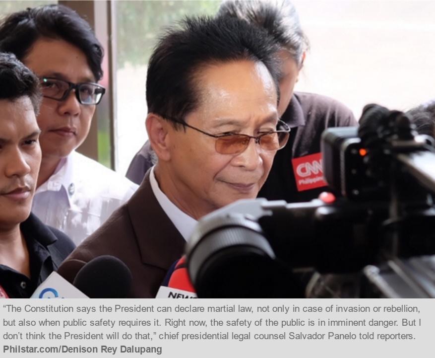 Duterte a menacé de déclarer la loi martiale dans sa lutte contre la drogue. Copie d'écran du Philippine Star, le 11 août 2016.