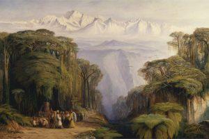 """""""Le Kangchenjunga depuis Darjeeling"""", tableau d'Edward Lear (1879). Le Kangchenjunga, qui culmine à 8 586 m, est le plus haut sommet du Sikkim et le troisième plus haut du monde. (Crédit : Wikimedia Commons)"""