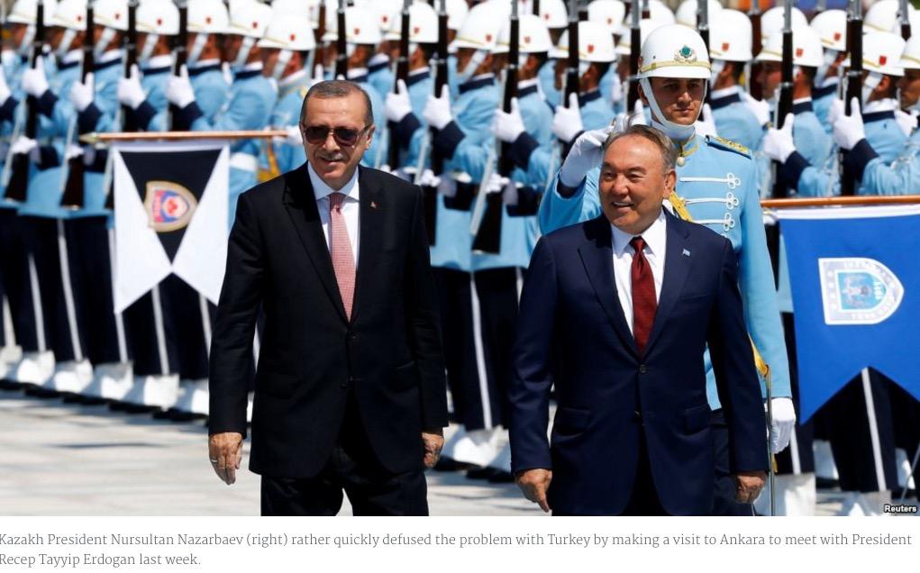 Le Kirghizistan et le Kazakhstan refusent la fermeture des écoles Gülen, demandée par Erdogan. Copie d'écran de Radio Free Europe, le 16 août 2016.