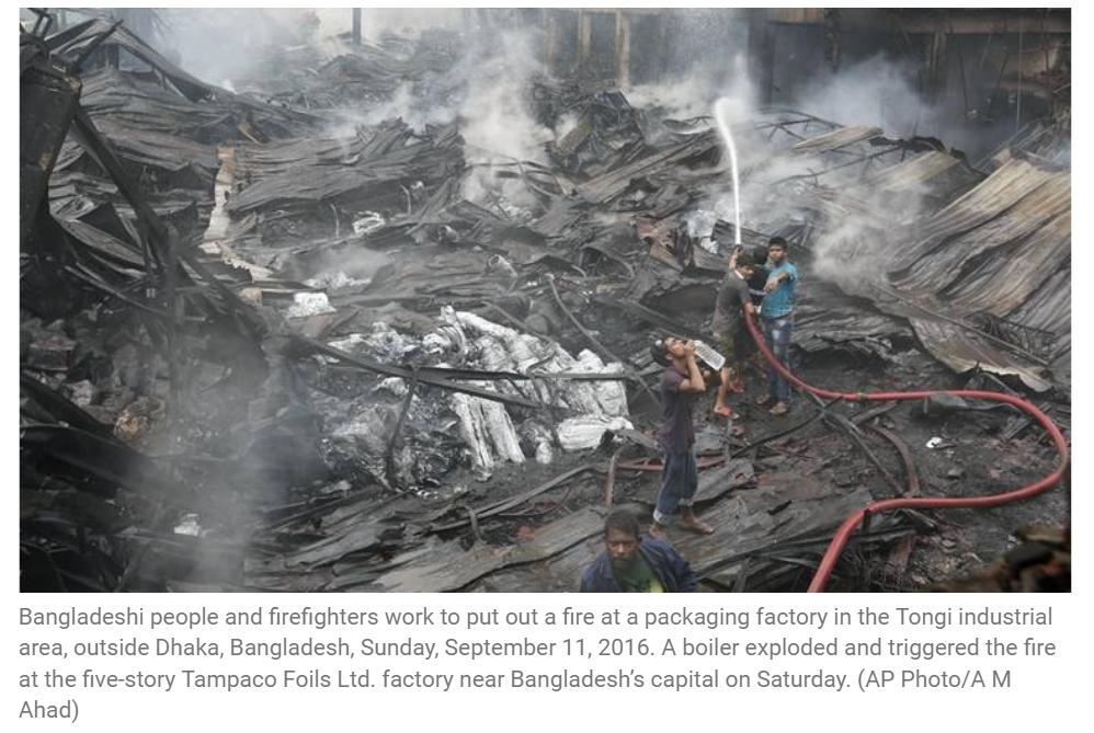 Un incendie mortel a ravagé les locaux d'une usine d'emballages ce week-end, dans la banlieue de Dacca. Copie d'écran de The Indian Express, le 12 septembre 2016.