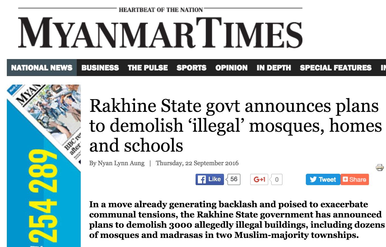 Au total 3000 bâtiments seraient menacés de démolition dans cette région en proie à de vives tensions communautaires entre bouddhistes et musulmans. Copie d'écran du Myanmar Times, le 22 septembre 2016.